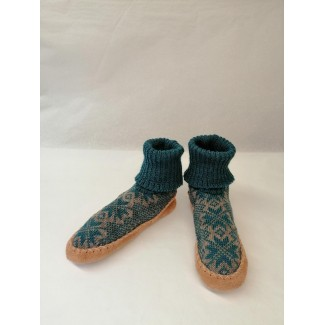 Kids Turquoise Wool Slippers